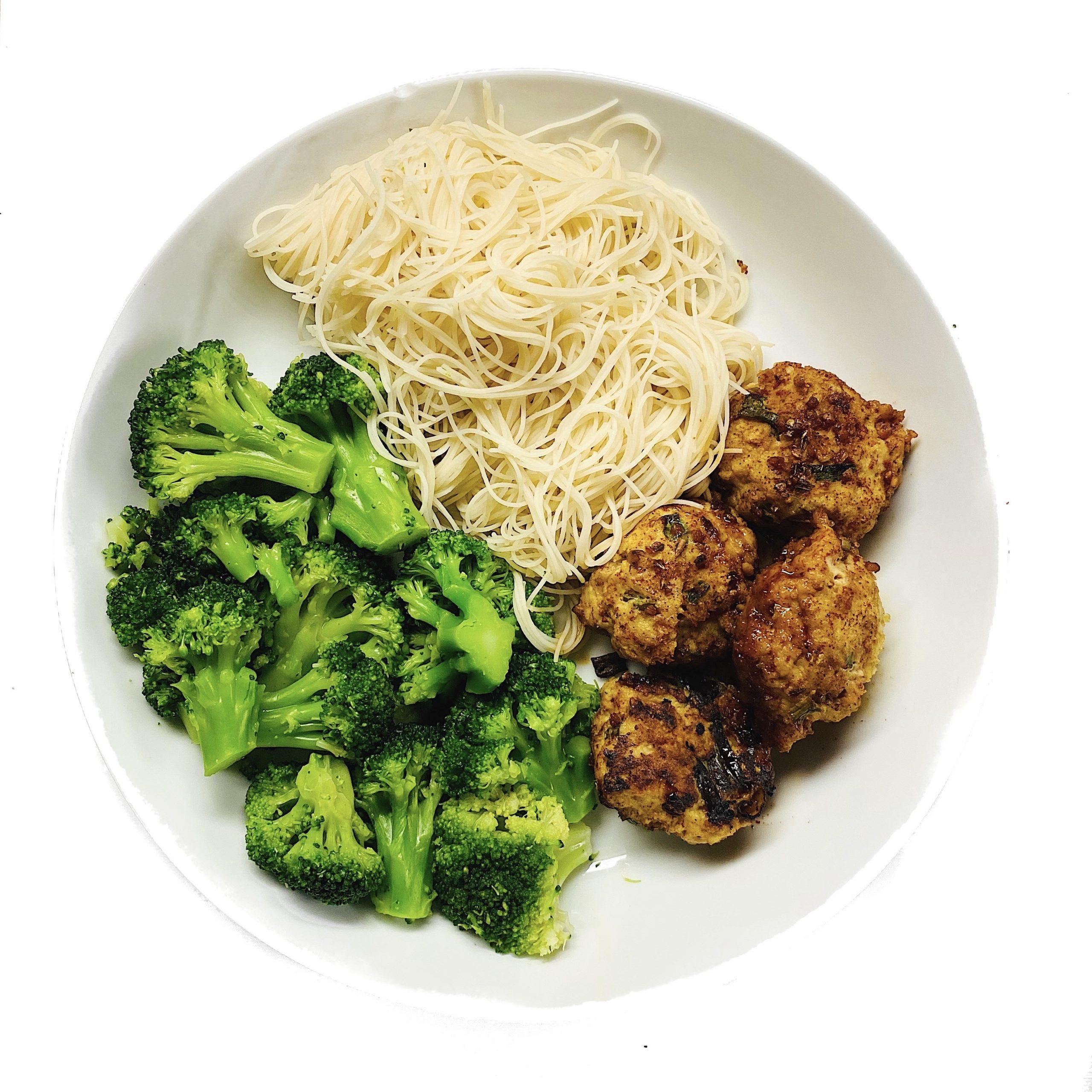 Chicken Meatballs Brown Rice Noodles