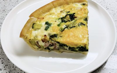 Veggie Turkey Bacon Loaded Quiche
