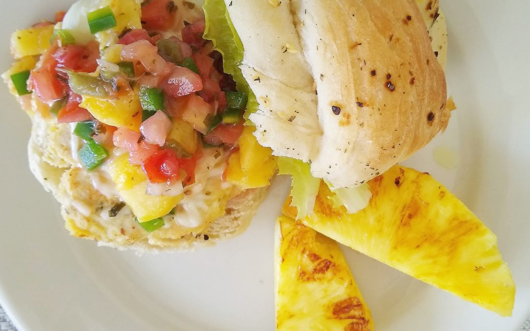Easy Chicken Burger with Pineapple Jalapeno Salsa