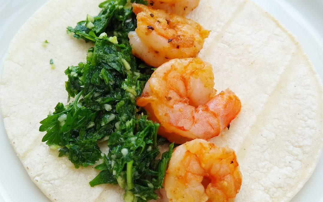 Garlicky Cajun Shrimp Tacos